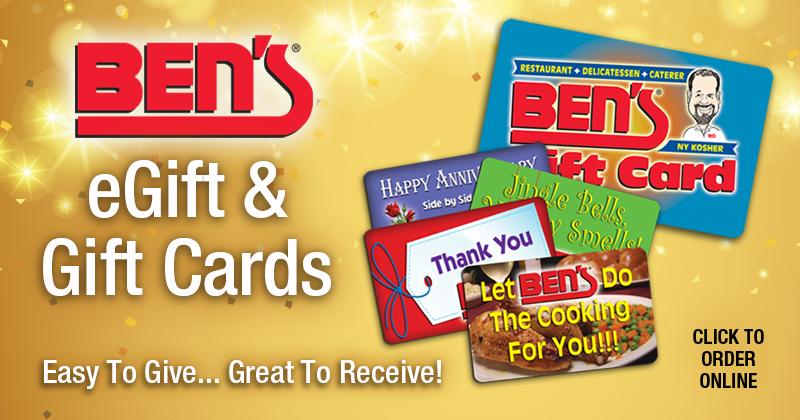 Order Ben's eGift & Gift Cards Online